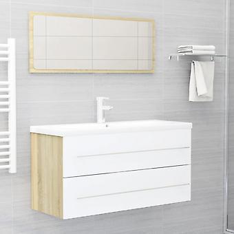 vidaXL 2-tlg. Meubles de salle de bains blanc et sonoma-chêne plateau