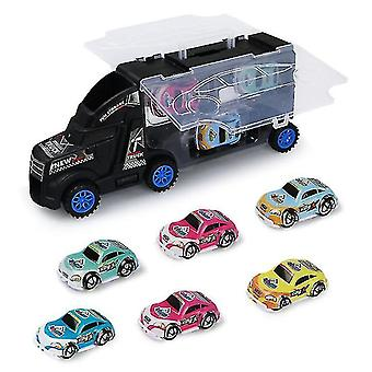 Children's pull back alloy storage portable container truck, with 6 mini cars(Black)
