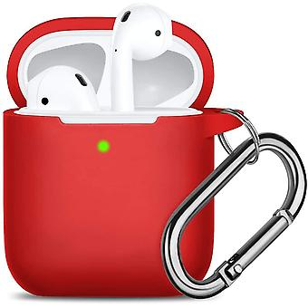 Waterproof Protective Cover with Keychain Compatible with Apple Airpods 2 & 1, Red(13 Red)