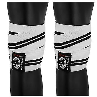 Optimale Techpro X 14 ondersteuning knie Wraps wit/zwart