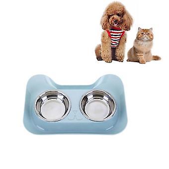 Edelstahl Katze und Hund Doppel Schüssel leckdichte Trinkwasser Pet Bowl(Blau)