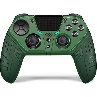 بلوتوث تحكم في التسالي، لاسلكي، لPS4 DualShock Game Game Scuffed Controller ل PS4 Controller Game مع لعبة الاهتزاز المزدوج سماعة الرأس جويستيك لبلاي ستيشن 4 / برو / الوحل (الأخضر)