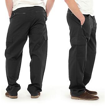Tom Franks Mens Long Plain Polycotton Outdoor Cargo Action Trousers - Black - L