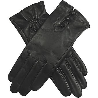 Dents women's leather gloves with button detail, elastic palm & silk feel lining