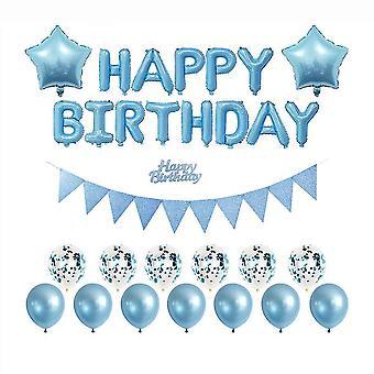 Geburtstagsparty Ballon Banner, Ballon Set (blau)