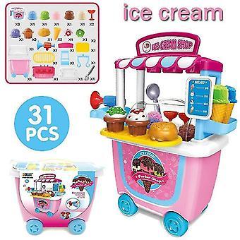 Toy kitchens play food ice cream-31pcs set kids simulation ice cream shop role play toy set