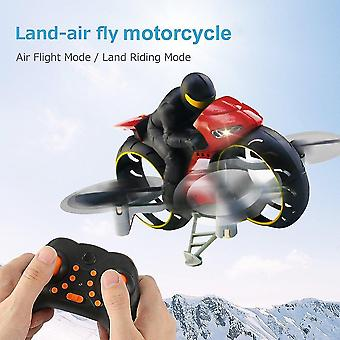 Remote control motorcycles 2.4G 2 in 1 land air fly motorcycle headless mode remote control four axis drone racing stunt