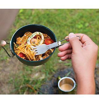 Stainless Steel Bowl With Foldable Handle Outdoor Camping Picnic Tableware