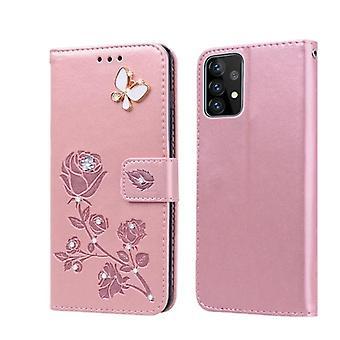 lommebok skinnveske for Samsung Galaxy S21-rose gull