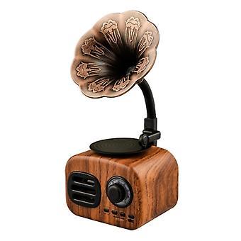 Wireless Bluetooth Speaker Retro Vintage Gramophone Shape Portable Usb Interface Card Bluetooth Speaker Travel Home Office