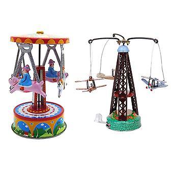 Machines à jouets Métal Plan Carrousel Série 2x Jouet Mécanique Vieux Métal Carrousel Avion Et Carrousel Collection Cadeaux Enfants