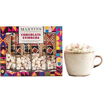 Martin's Chocolatier Hot Chocolate Stirrers (3 Boxes) Chilli Dark Chocolate | Hot Chocolate Spoons with Marshmallows | Flavoured Chocolate Drink | Belgian Chocolate Gift Set