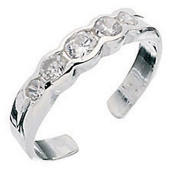 925 Silver Zirconia Adjustable Toe Ring