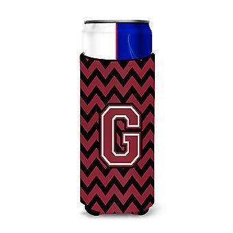 Letter G Chevron Garnet and Black  Ultra Beverage Insulators for slim cans