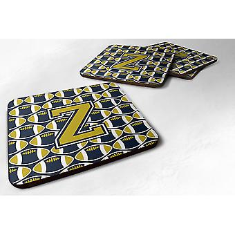 Set of 4 Letter Z Football Blue and Gold Foam Coasters Set of 4