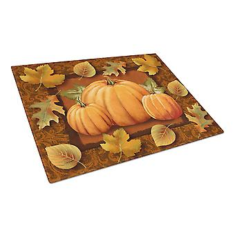 Pumpkins and Fall Leaves Glass Cutting Board Large