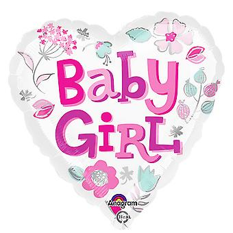 Anagram 18 Inch Baby Girl Heart Foil Balloon
