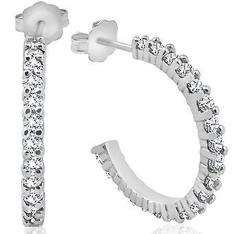 1 1 / 2ct diamants cerceaux 14K or blanc