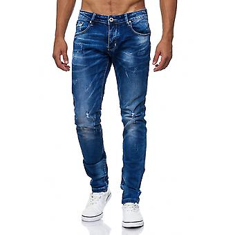 Men's Jeans Destroyed Ripped Used Holes Cracks Pants Stone Stone Washed