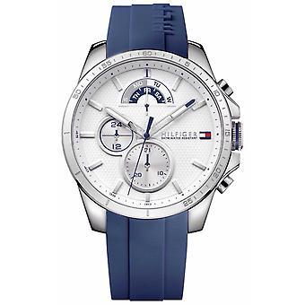 Tommy Hilfiger Decker | Blue Rubber Strap | White Dial 1791349 Watch