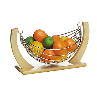 Fruit Hammock Fruit Bowl Chrome/Rubberwood Table Display