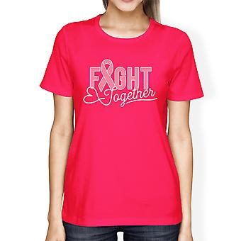 Fight Together Cancer Womens Hot Pink Breast Cancer Support T-Shirt