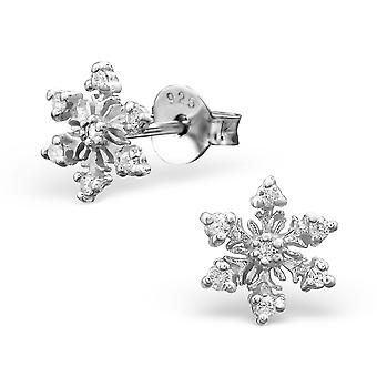 Snowflake - 925 Sterling Silver Cubic Zirconia Ear Studs - W26013X