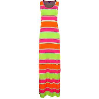 Panie bez rękawów Neon pasek Aztec wydruku kobiet długie Maxi Letnia sukienka