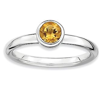 925 Sterling Silver Bezel Polished Rhodium plaqué Stackable Expressions Low 5mm Round Citrine Ring Jewelry Gifts for Wom