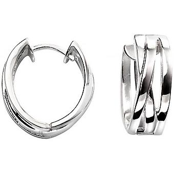 Beginnings Triple Band Cross Over Hoop Earrings - Silver