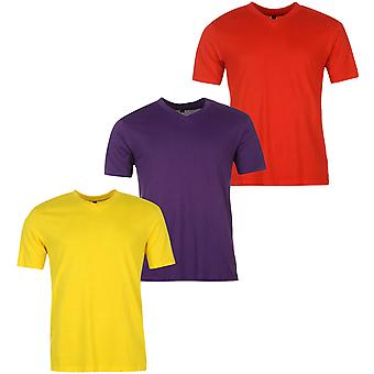 Donnay Mens Three Pack V Neck T Shirt Tee Top Short Sleeve