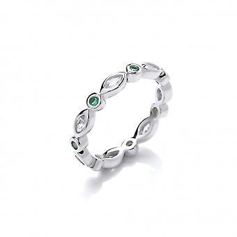 Cavendish francia ezüst és zöld köbös cirkónia barátság gyűrű