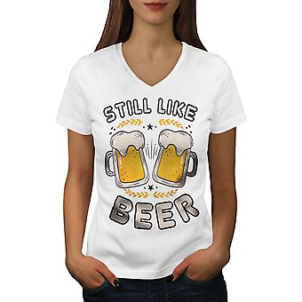 Like beer funny Women WhiteV-Neck T-shirt | Wellcoda