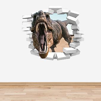 Full Colour Dinosaur TRex Coming Through a Wall Sticker
