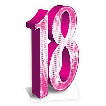 Numero 18 vaaleanpunainen Lifesize pahvi automaattikatkaisin / seisoja