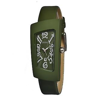 Crayo Angles Leather-Band Ladies Watch w/Date - Olive