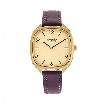 Simplify The 3500 Leather-Band Watch - Gold/Plum