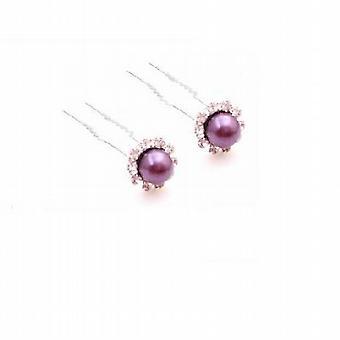 Pasador de pelo nupcial de color púrpura oscuro perlas accesorios para el cabello de Dama de honor
