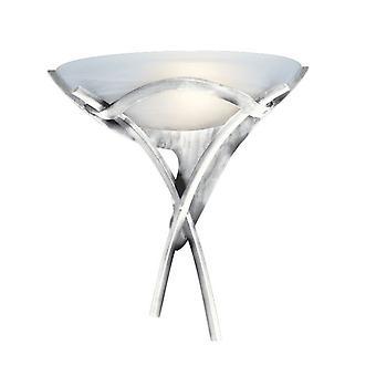Antikk sølv veggen lys med Alabaster Glass - søkelys 0104SI