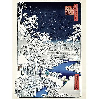 Hiroshige art print Drum Bridge At Meguro Drum Bridge At Meguro And Sunset Hill, papier 250 gr. mat klein formaat 40 x 30 cm