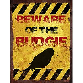 Vintage Metal Wall Sign - Beware of the budgie