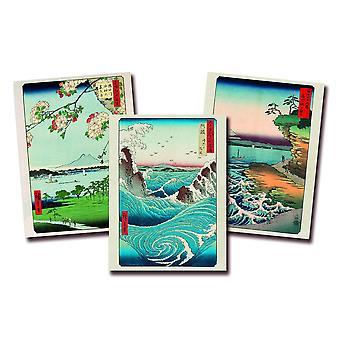 Hiroshige kunstdruk set van 3 papier 250 gr. mat Naruto Whirlpool, Massaki And Suijin Grove en The Coast At Hota In Awa Province klein formaat 40 x 30 cm