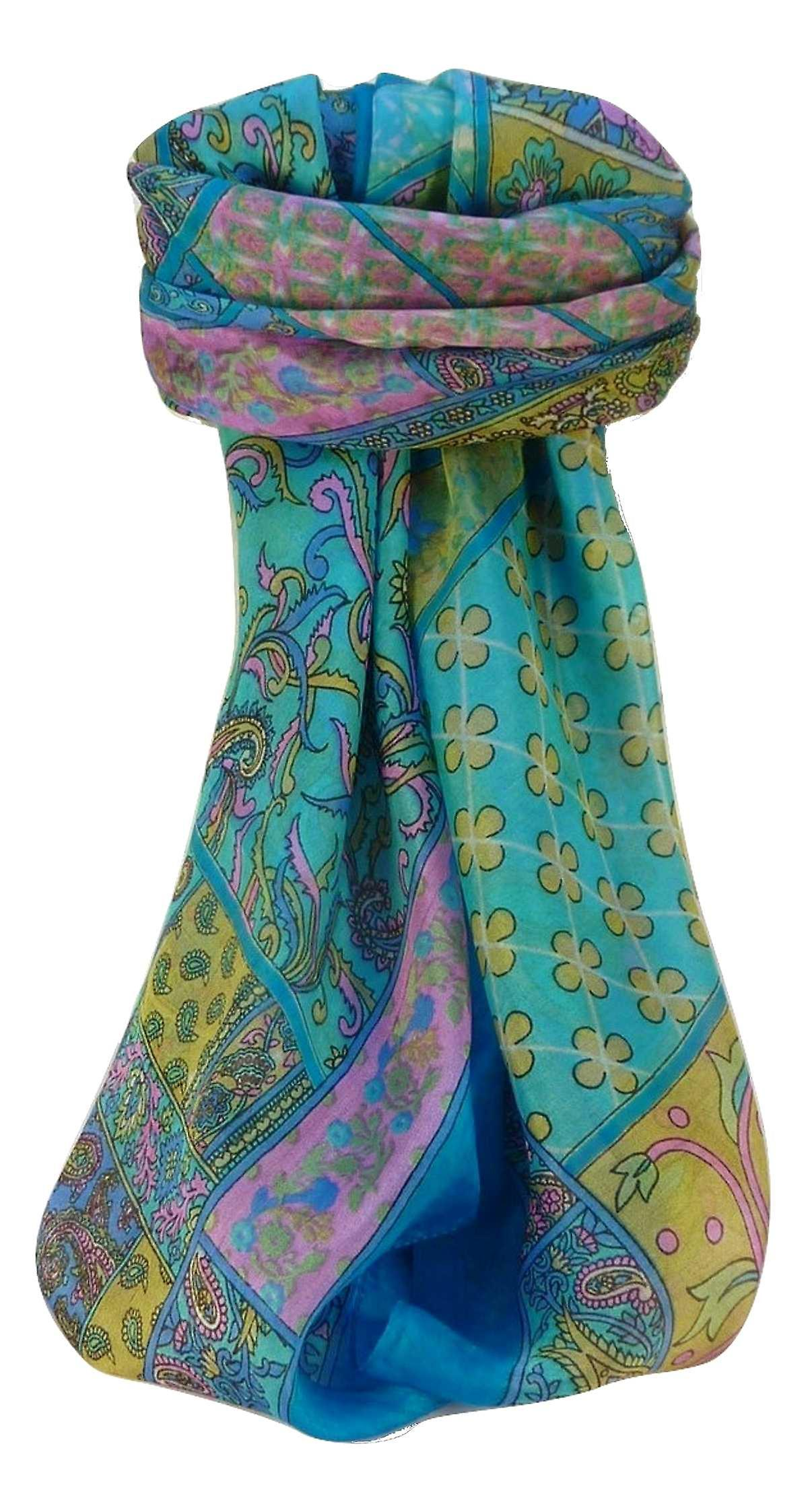 Mulberry Silk Traditional Square Scarf Qia Aqua by Pashmina & Silk