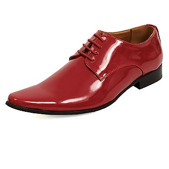 Dobell Mens Burgundy Dress Shoes Patent Contemporary Style Laced