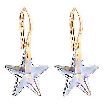 اه! بلورات المجوهرات Aurore النجوم من أقراط سواروفسكي ، فضه الإسترليني