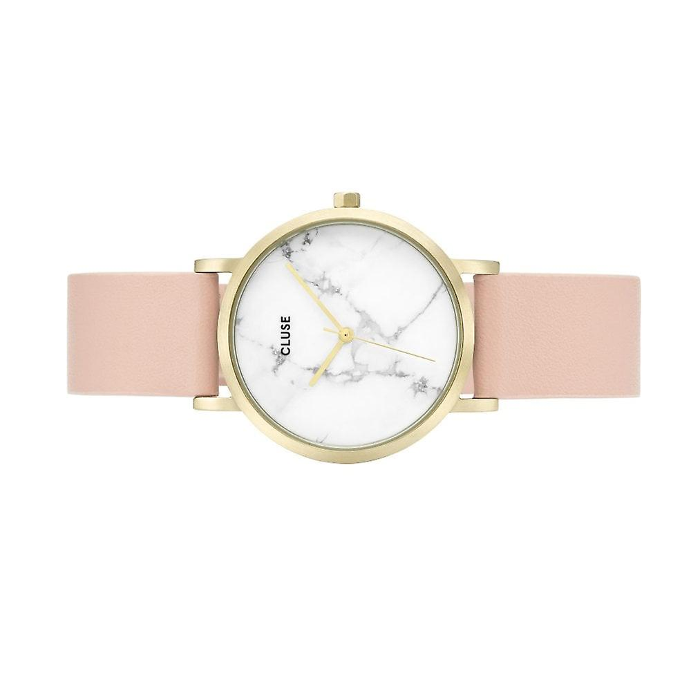Cluse Cl40101 La Roche Petite White Marble, Gold & Pink Leather Ladies Watch