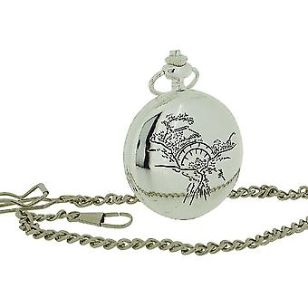"""Jakob Strauss Silver Tone With Cover Gents/Ladies Pocket Watch +12"""" Chain JAST43"""