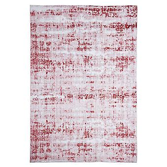 Modern carpet weaving carpet short flor indoor abstract bright-gray red 160 x 230 cm stain protection cotton mixture