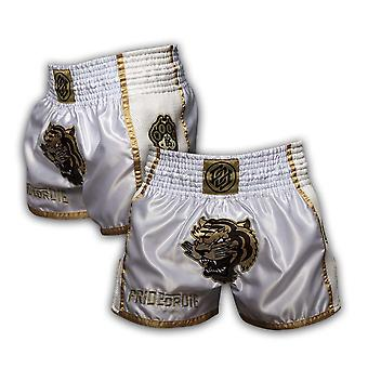 Orgullo o muere desatada Muay Thai Short White/Gold