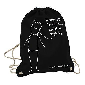 Sac de sport de guerre et vendredi tous les autres sacs non valides noir, imprimé, fait de 100% coton, en poly-sac.
